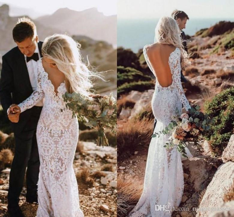 2019 Sexy Mermaid Lace Wedding Dresses Long Sleeves Floor Length Backless Beach Boho Bridal Gowns Illusion Bottom