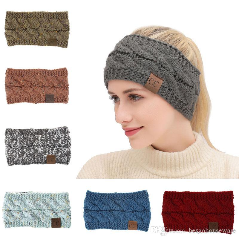 Women's Winter Knitted Headband With Dot Flower Hairband Elastic Breathable Winter Warm Colorful Female Headband With Logo BH0817 TQQ