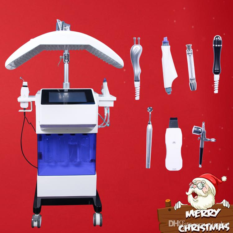 8 IN 1 dermabrasion machine hydra facial cleaning wrinkle removal diamond dermabrasion water peeling machine 7 colour PDT light