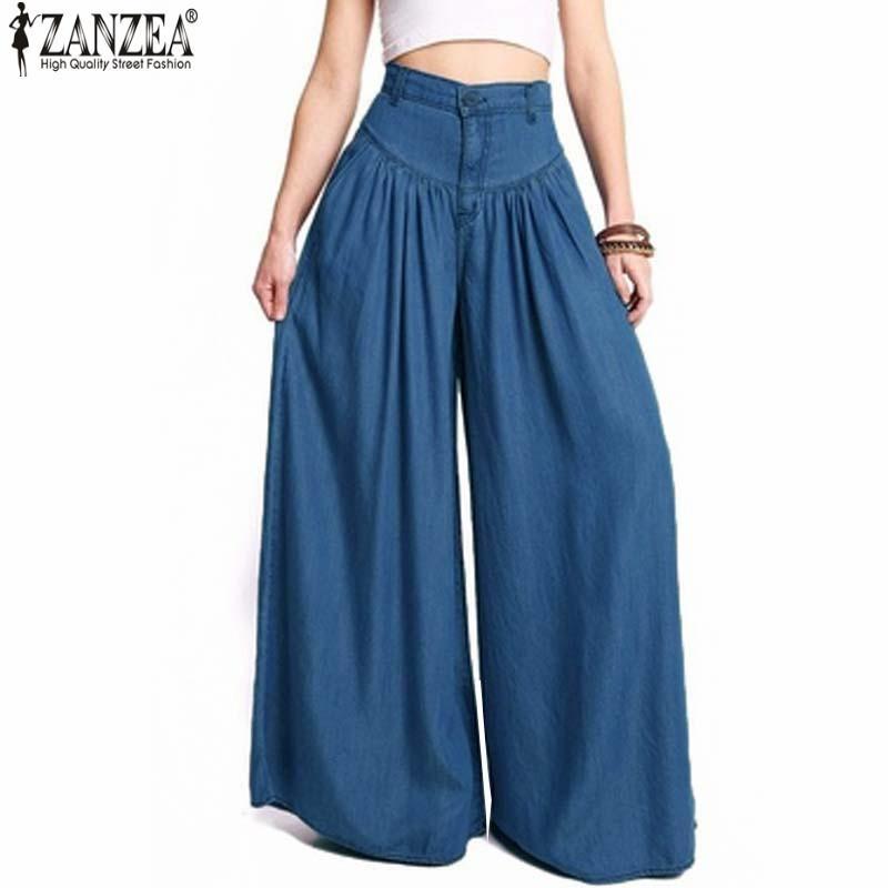 2019 Zanzea Hosen Frauen Hohe Taille Lange Pluderhosen Taschen Lose Plissee Denim Blau Breite Beinhosen Party Palazzo Plus Größe Y19071601