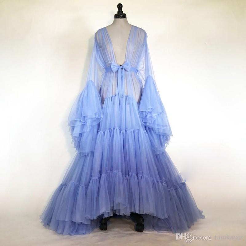 Sexy Blue Women Robe Fur Nightgown Bathrobe Sleepwear V Neck Bridal Robe with Belt Wedding Party Gifts Bridesmaid Dress