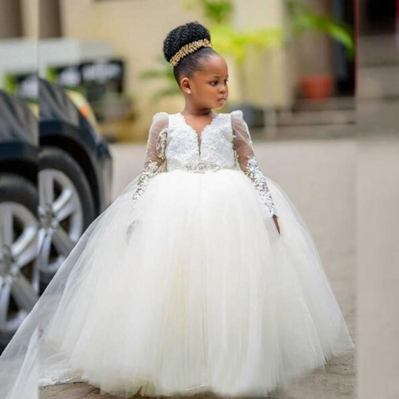 2020 Tulle A Line Flower Girl Dresses Long Sleeve Little Girl Pageant Dresses Princess Birthday Dress for Wedding Kids Party Wear