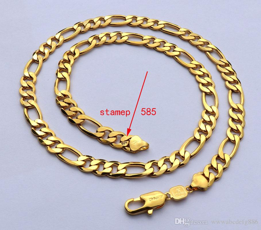 """Solid Stamep 585 Hallmarked 18 k Yellow Fine Gold Gf Figaro Chain Link Necklace Lengths 8mm Italian Link 24"""""""
