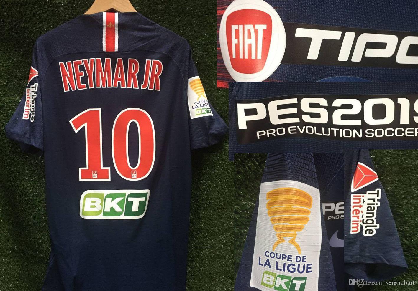 2019 النسخة لاعب كأس الدوري الفرنسي جيرسي مايوه Mbappe نيمار مع جميع الراعي تصحيح جيرسي