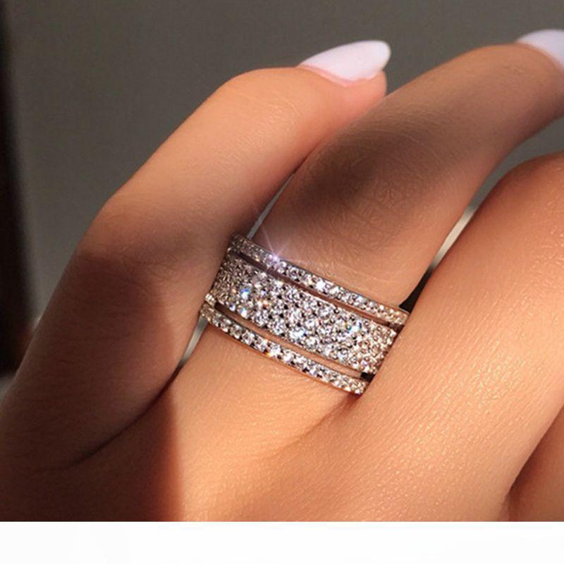 5adet Nefis Bridal Wedding Rhinestone yeni RingsPrincess Nişan Hediye dişi halka Gelin parti takı Boyutu 5 evlenmek