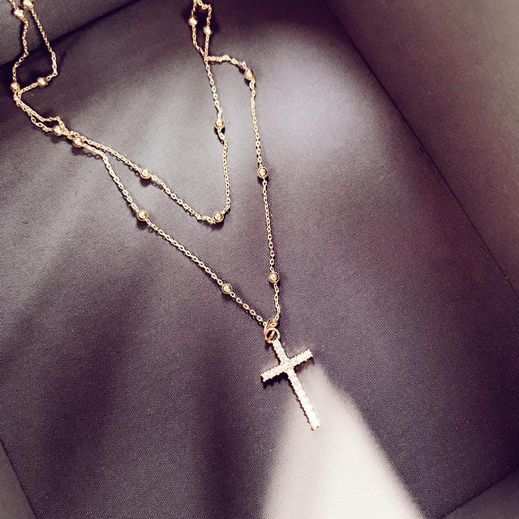 Women Jewelry Double Chain Full Crystal Cross Pendant Necklace Choker Necklace Valentine's Day Gift
