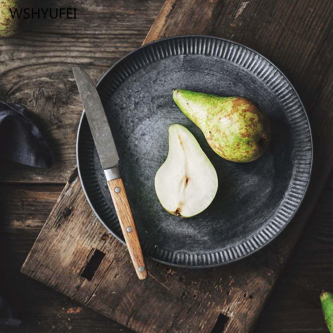 الرجعية معدن أطباق الحلوى لوحة لوحات الآنية التي تخدم جولة صينية علبة الحلوى كعكة أواني اكسسوارات خمر الأطباق