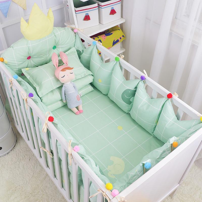 4 قطع ولي الطفل التصميم استرضاء مجموعة مفروشات الأخضر الطازج القطن سرير الفراش عدة تشمل مل 3pcs الوفير ورقة السرير مقاسات متعددة