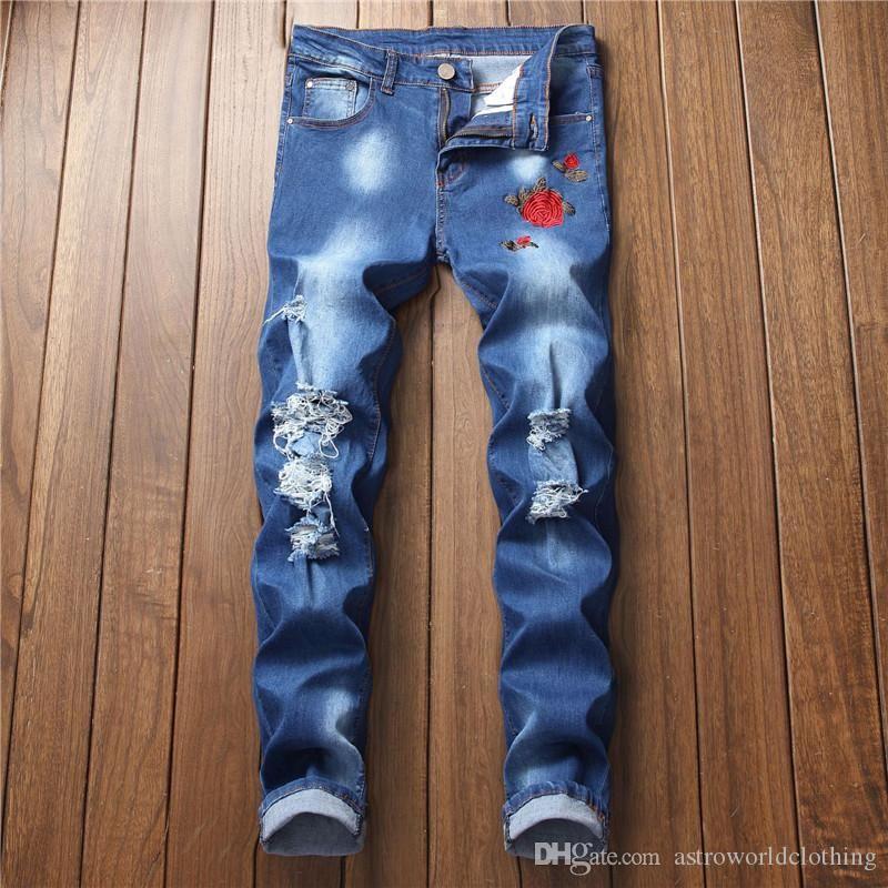 Rose ricamo progettista del Mens Holes Jeans Blu Colore Hiphop pantaloni sottili denim casuali della matita Jeans Uomo