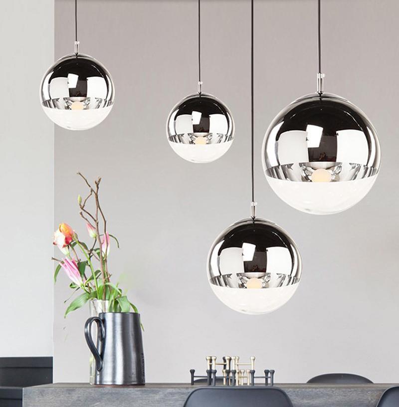Simples chapeamento de vidro Pendant Light Space Ball Lâmpada de suspensão do espelho Chandelier