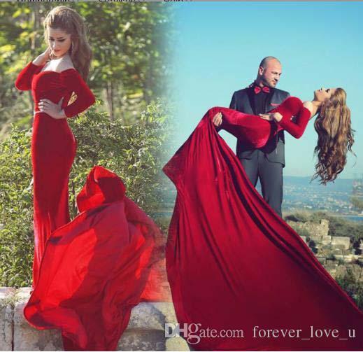 Brazilian Wine Red Color Women Long Tail Fishtail Evening Dresses Watteau Velvet High_End Customized Mermaid Red Evening Dress