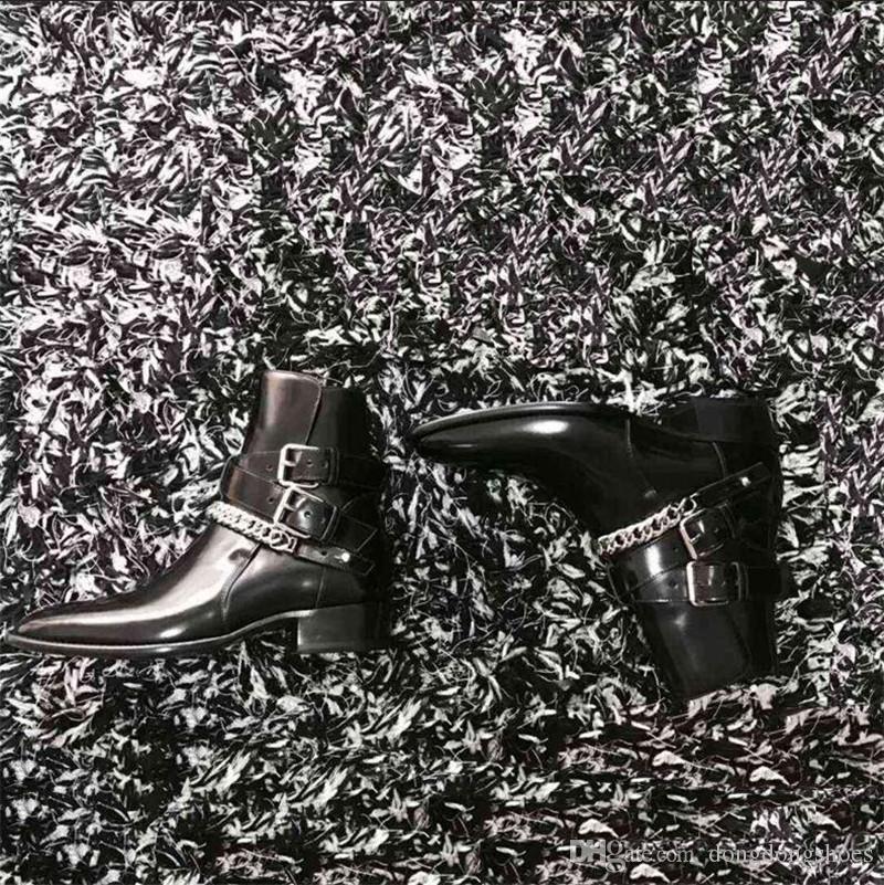 2019 مصمم جديد رجل أصلي جلدي اللجام على غرار تسخير أحذية جلد العجل أحذية الغربية الكاحل الشريط مرصوف أسود جلد كعب الكوبي أحذية
