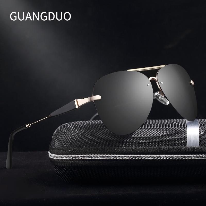 GUANGDU Aluminio gafas de sol polarizadas Hombres Conductor Espejo Gafas de sol Hombre Pesca Mujer Gafas Para Hombres Gafas de sol