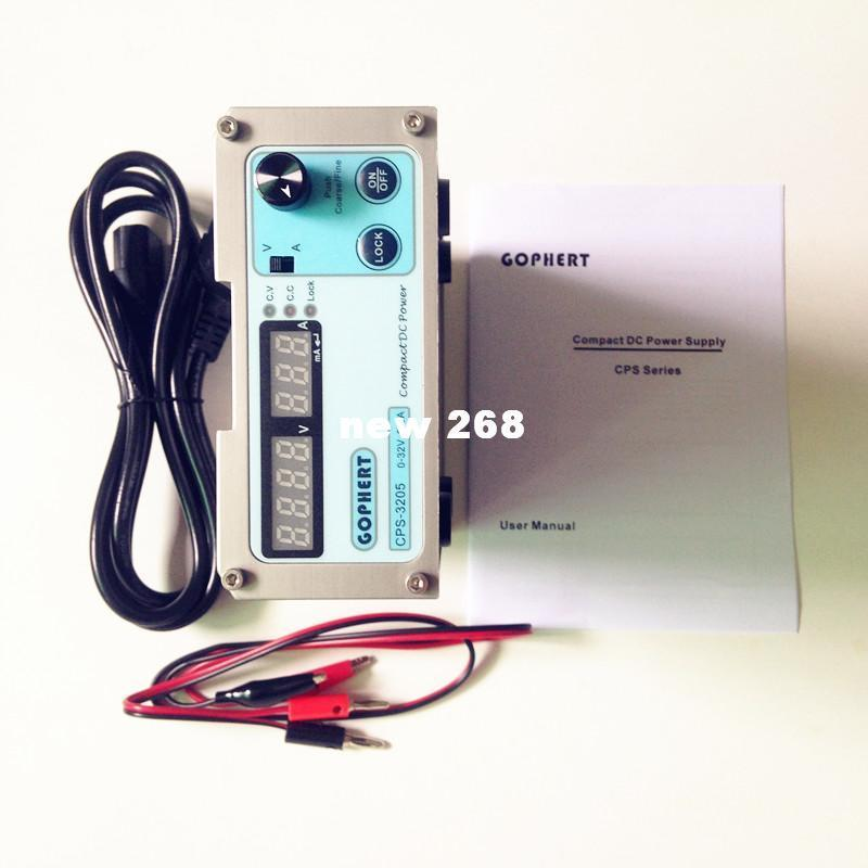 Freeshipping Compact DC Power Supply 0-32V 0-5A AC110-240V Digital display With Lock Button