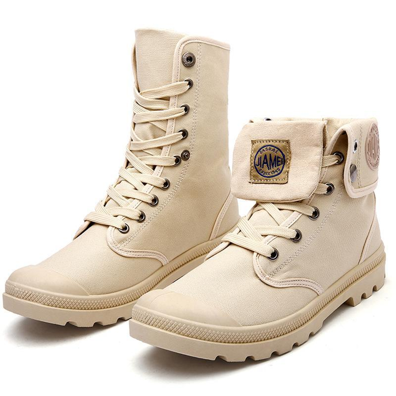 Grande taille 35-45 High Top Bottes Femme Lacets Marque Valentine hiver Canard Bottes moto midcalf Botas hommes