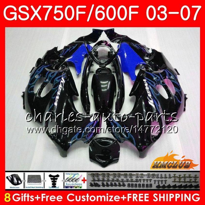 Kit de corpo para Suzuki Katana GSXF600 GSXF750 03 04 05 06 07 chamas azuis 3HC.55 GSX750F GSX600F GSXF 750 600 2003 2004 2005 2006 2007