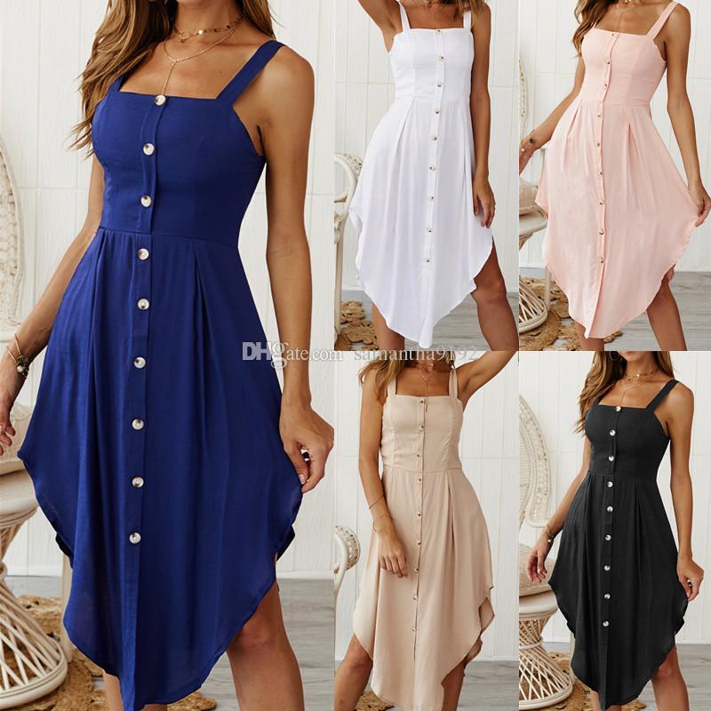 2019 Moda Bayan Tatil Strappy Düğme Elbise Bayanlar Seksi Casual Yaz Plaj Midi Güneş Elbise Artı Boyutu XL
