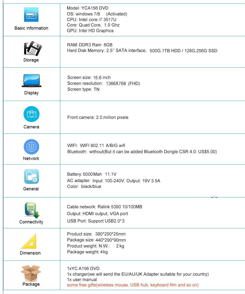 specification YCA156 DVD I7