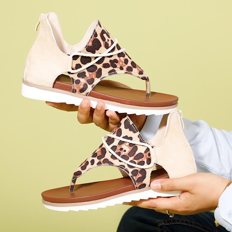 2020 Las mujeres sandalias del estampado leopardo de los zapatos de mujer de verano de gran tamaño ándalos plana sandalias de las señoras de la moda femenina sandalias de los calzados informales CX200616