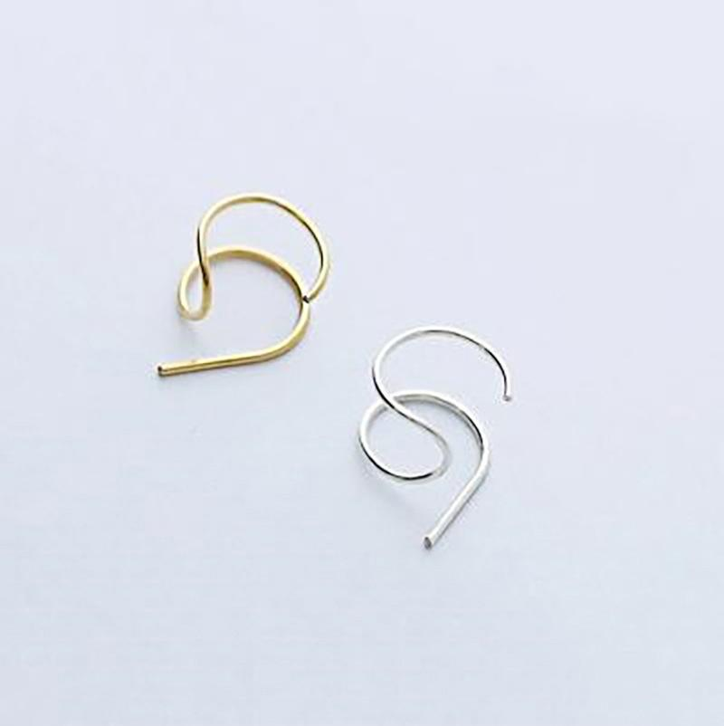 2019 Fashion 925 Sterling Silver Personalized Minimalist Ear Stud Earrings For Women Hipster Female Gold Color S925 Jewelry Gift
