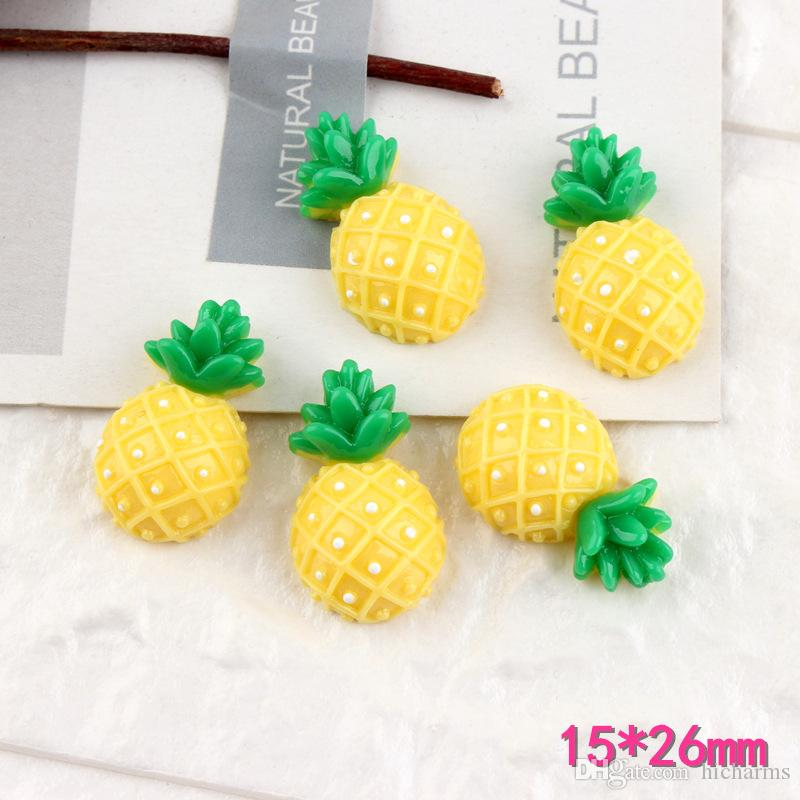 100pcs 15*26mm Resin Fruit pineapple charms flatback cabochon Hair Jewelry Handicraft Material Wholesale Mobile diy Accessories