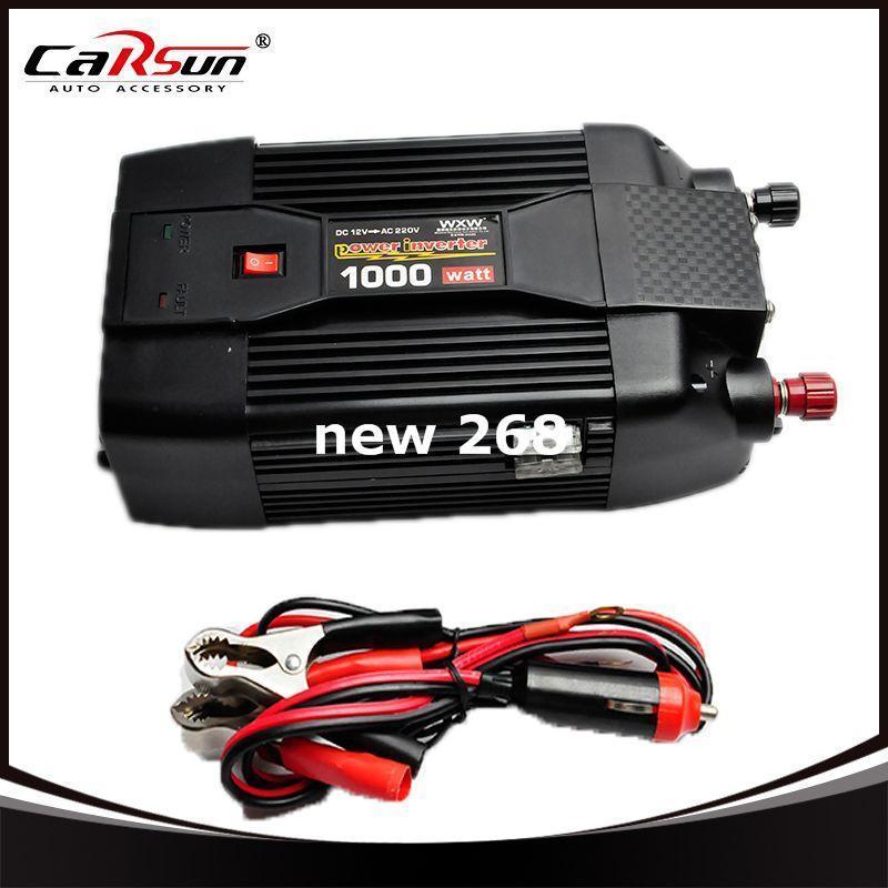 Freeshipping 12V to 220V 1000W Car Modified Sine Wave Power Inverter Converter Car Charger USB Car Cigarette Lighter Grid Tie Inverter