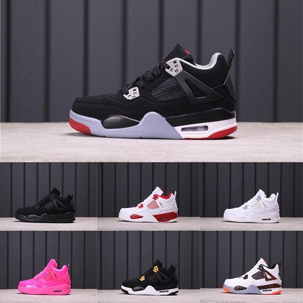 Дети Баскетбол Бред 4 IV Баскетбол обуви 4S Спорт Sneaker Black Cat раптор Pure White Противопожарный Red Motorsports Boy Девушка Трейнеры