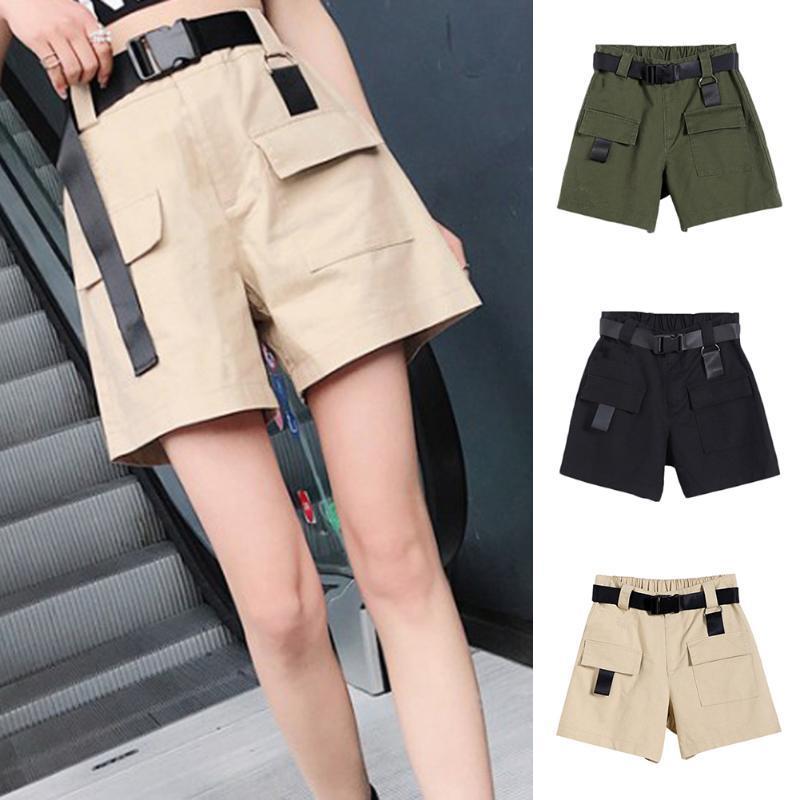 Coreano Moda Casual Shorts Verão Loose Women Pantalon Femme Cinturão Verde Branco cintura alta Shorts Carga Feminino Tamanho S-XXL