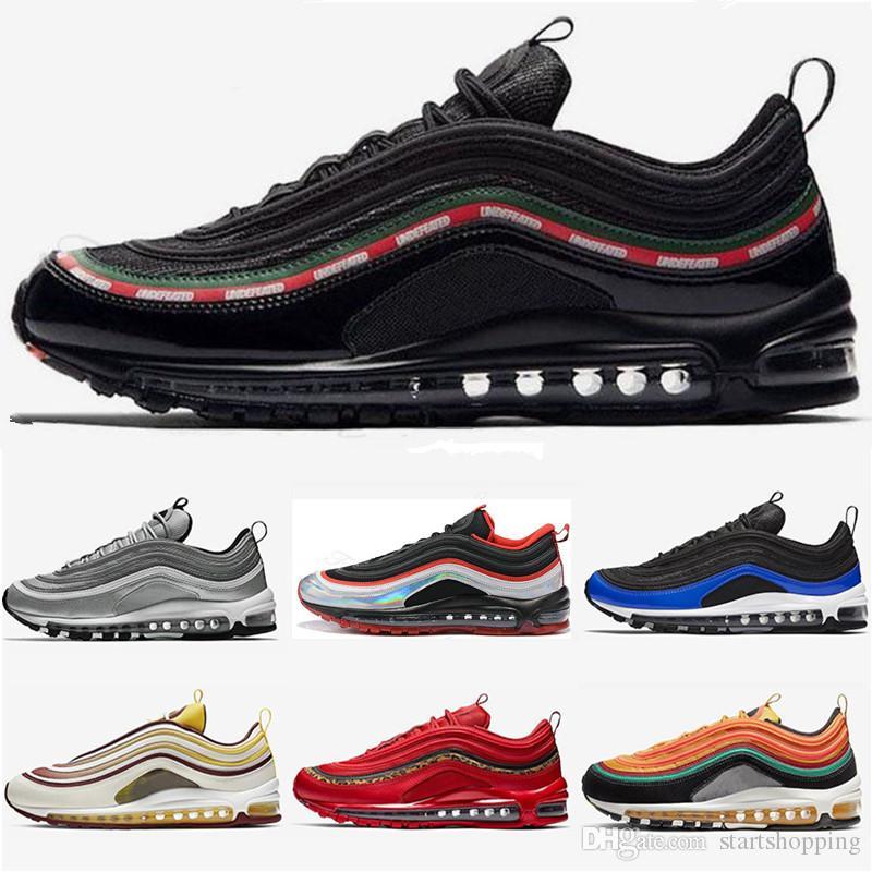 97 ayakkabı Üçlü siyah beyaz pembe Koşu ayakkabıları Og Metalik Altın Silver Bullet Mens eğitmenler Kadınlar spor kutusu ile sneaker yürüyüş ayakkabısı alışveriş
