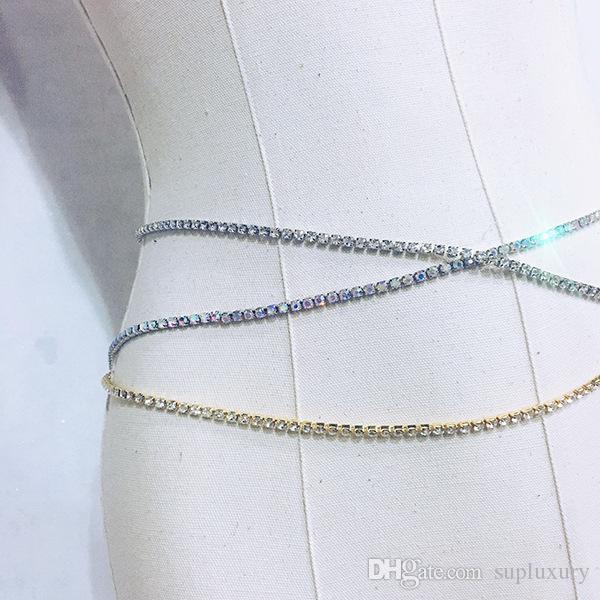 2020SS Hot Sale Jóias broca Super Flash Água Sexy cintura baixa cintura Cadeia Vestido Mulheres Acessórios frete grátis