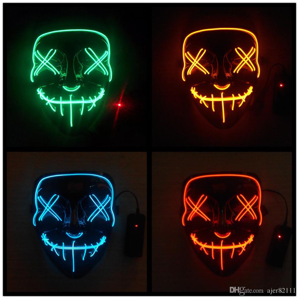Levou Máscara de Halloween Fio EL Luz ACIMA Máscara de Baile de máscaras de Incandescência Cosplay Traje Festival de Natal Máscara de Baile