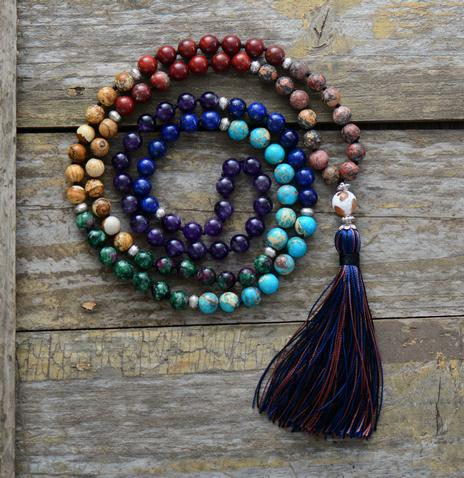7 Chakra Mala Unique 8mm Natural Stone Long Tassel Necklace Women Meditation Necklace Knotted Bead Yoga Necklace Jewelry J190620