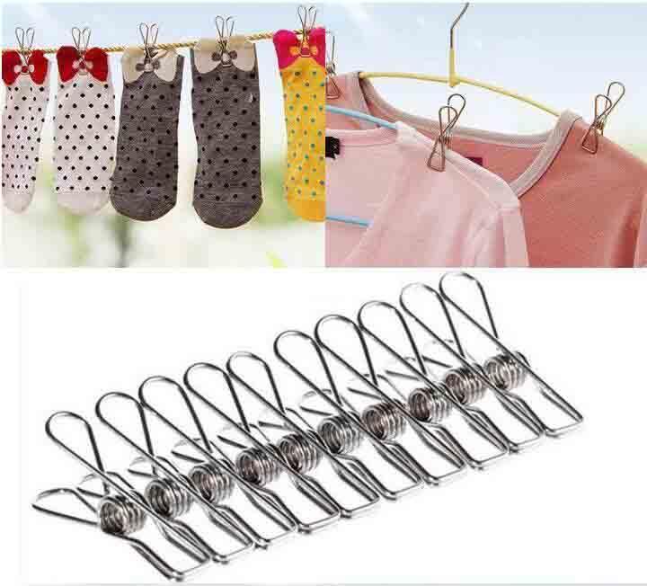 1000PCS / LOT Vendita calda eccellente qualità di arrivo della molla dell'acciaio inossidabile vestiti calzini Hanging delle spine della clip Morsetti argento lavanderia
