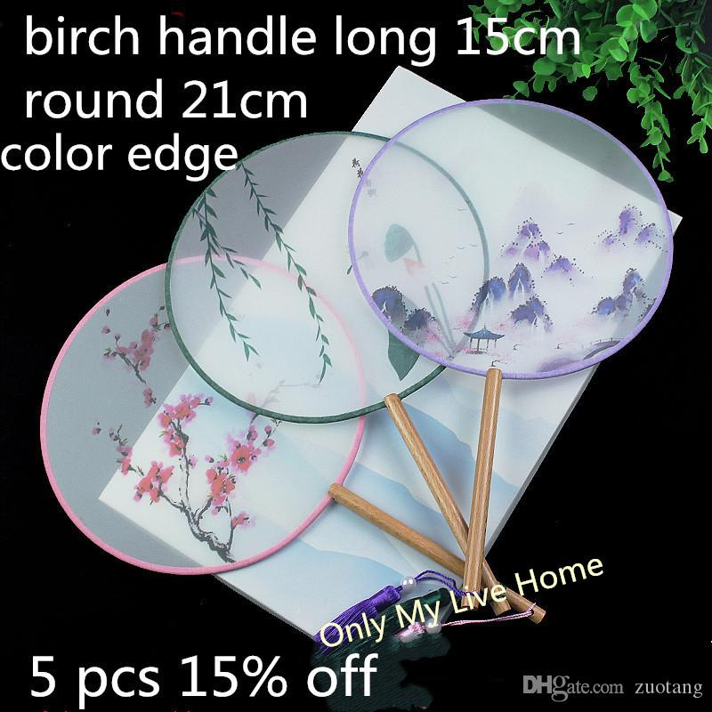 Double Printed Round Fabric Portable Lady Hand Fan Lengthen Handles Vintage Chinese Silk Fan Dance Costume Decorative Prop Fan