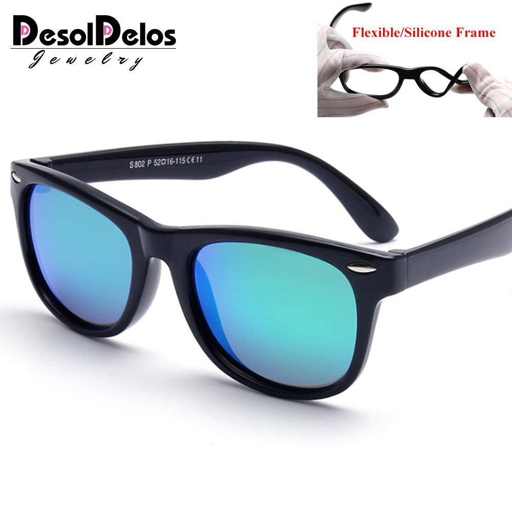 TR90 gafas de sol polarizadas para niños flexibles de seguridad para niños del bebé de revestimiento Gafas de sol Gafas Uv400 Sombras infantil Gafas de Sol pNuXn