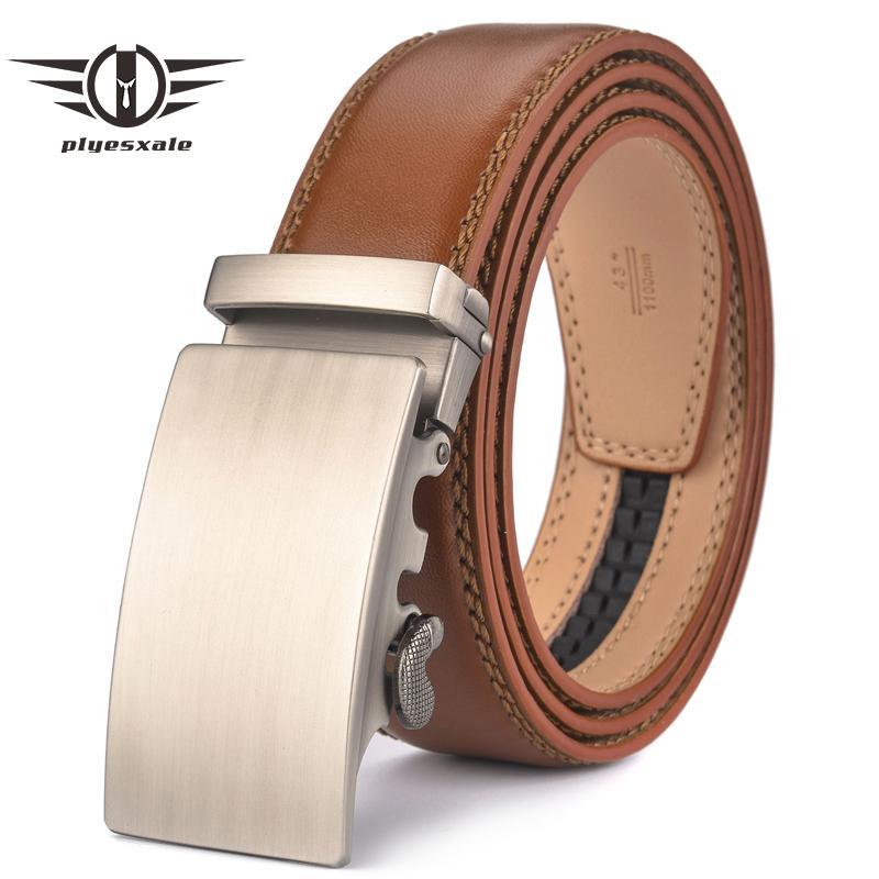 Plyesxale Brown Leather Belt Men 2018 Automatic Buckle Mens Belt For Jeans Vintage Style Mens Belts Luxury Ceinture Homme B9 Y19051803