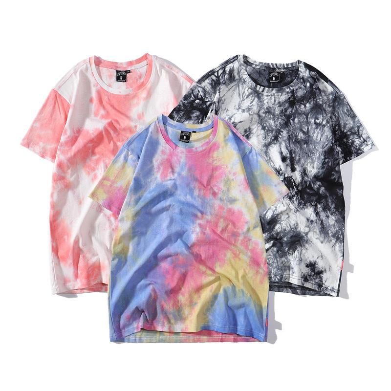 Homens Mulheres tie-dye shirts Verão soltas de manga curta T-shirt Tide Moda Hip-hop Casula Casal Tees Tops Mens Tendência Vestuário