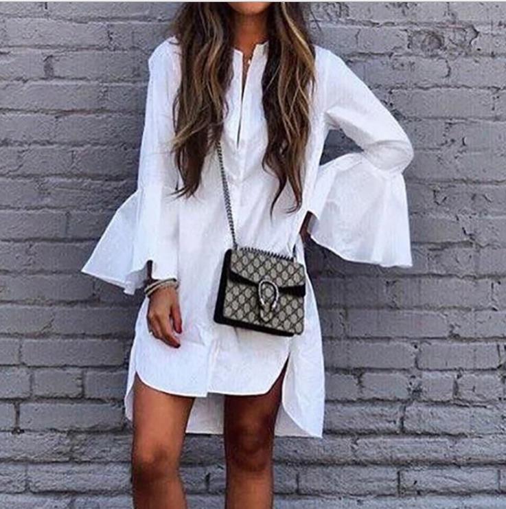 Nouveau Designer Femmes Blanc Flare Manches Chemise Robe D'Été De Mode Droite Élégante Femme Bloues Casual Vêtements De Luxe Tops