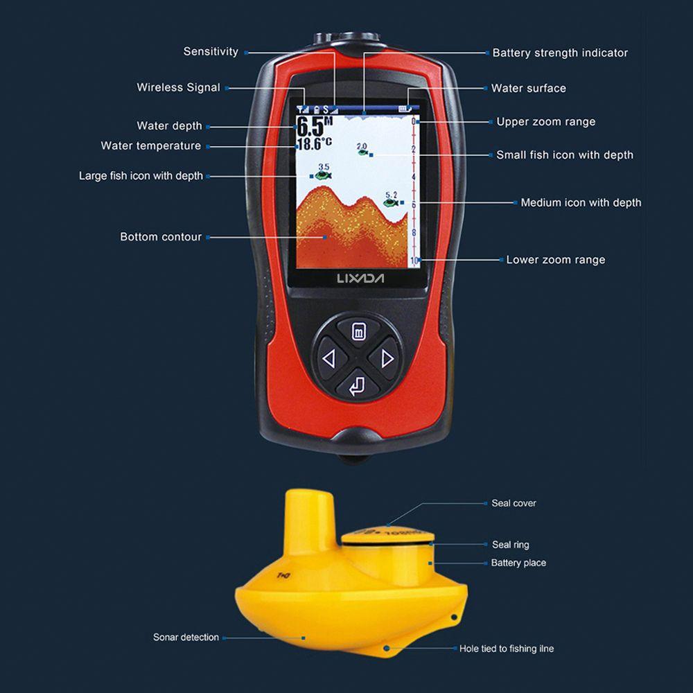 Lixada Portable 2-in-1 Rechargeable 2.4inch LCD Alarm 100M Portable Sonar LCD Fish Finders Fishing lu ICE/Ocean/Boat Alarm Fish Finder sonar
