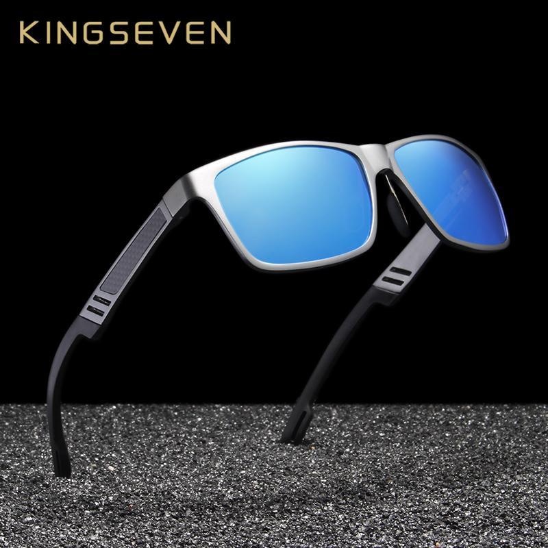 KINGSEVEN Unisexe En Aluminium Carré Hommes / Femmes HD Polarisées Miroir UV400 Lunettes de soleil Lunettes Lunettes De Soleil Pour Hommes