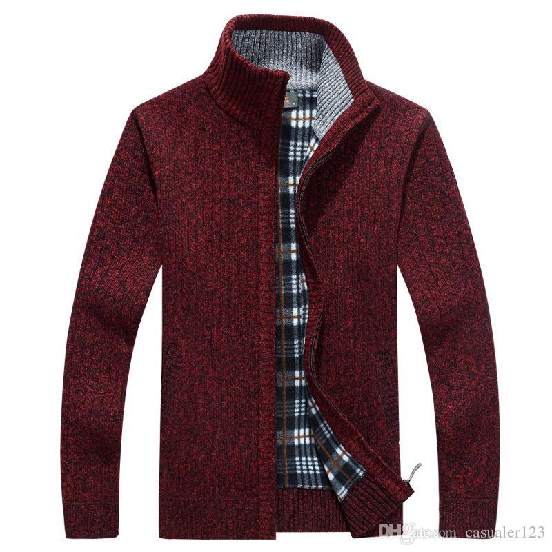 New 2XL 3XL Mens Fleece Sweate Autumn Winter Warm Cashmere Dress Slim Fat Wool Zipper Casual Sweater Men Knitted Coat