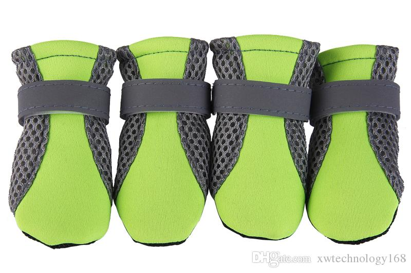 4pcs Pet Dog Boots Shoes Summer Winter Breathable Mesh Shoes For Dog Reflective Straps Dog Shoes 6 Colors 4 Sizes