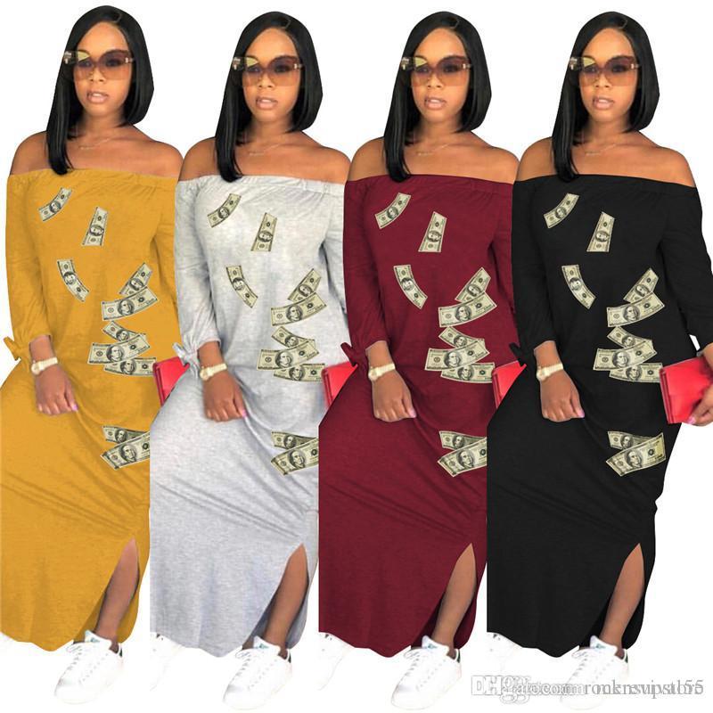 Femmes Slash Robes d'été à manches longues Robe longue Maxi Casual de Split en vrac Dollar Robe imprimée