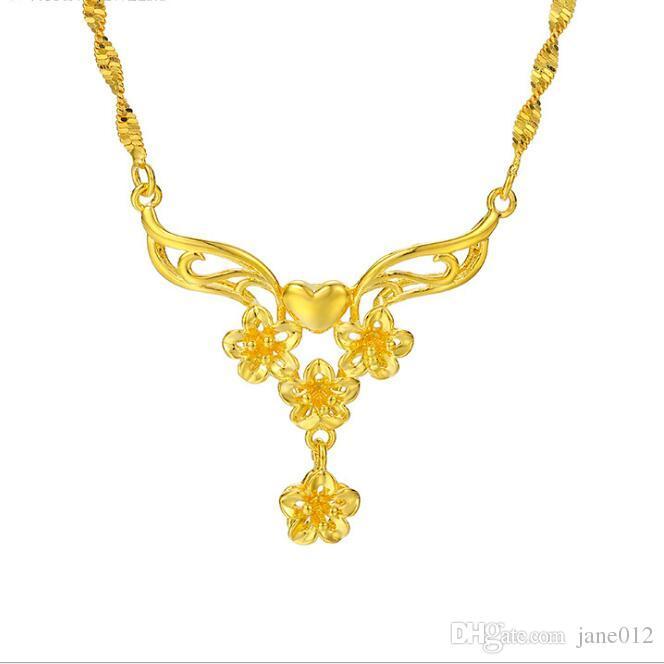 Vietnam Gold Kette Designs Halskette 23 Karat Gold gefüllt Blume Choker Anhänger stilvolle elegante Frauen Hochzeit Halsketten für Bräute