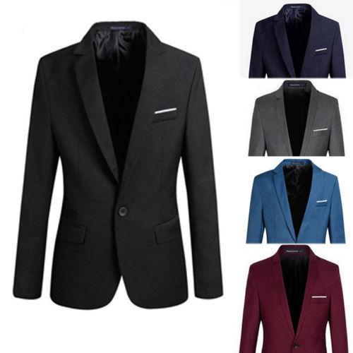 2019 S-4XL Bouton formel formel Slim Fit Hommes Costume Blazer manches longues entaillé coton Blend Veste Manteau Top