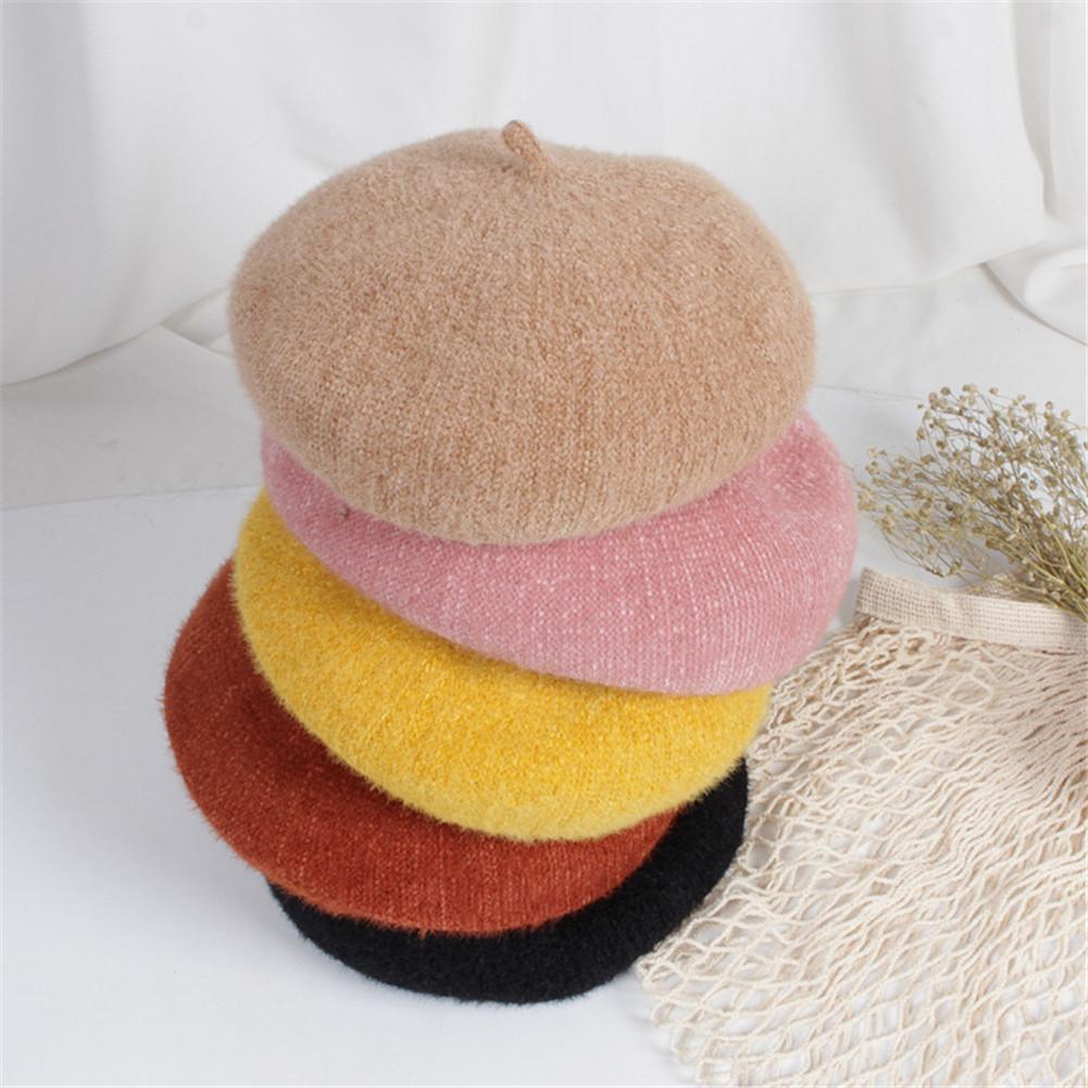 2019 Solid Hot Children Winter Handmade Beret Baby Painter Hat Buds Woolen Hats Men And Women Berets 2-8Y