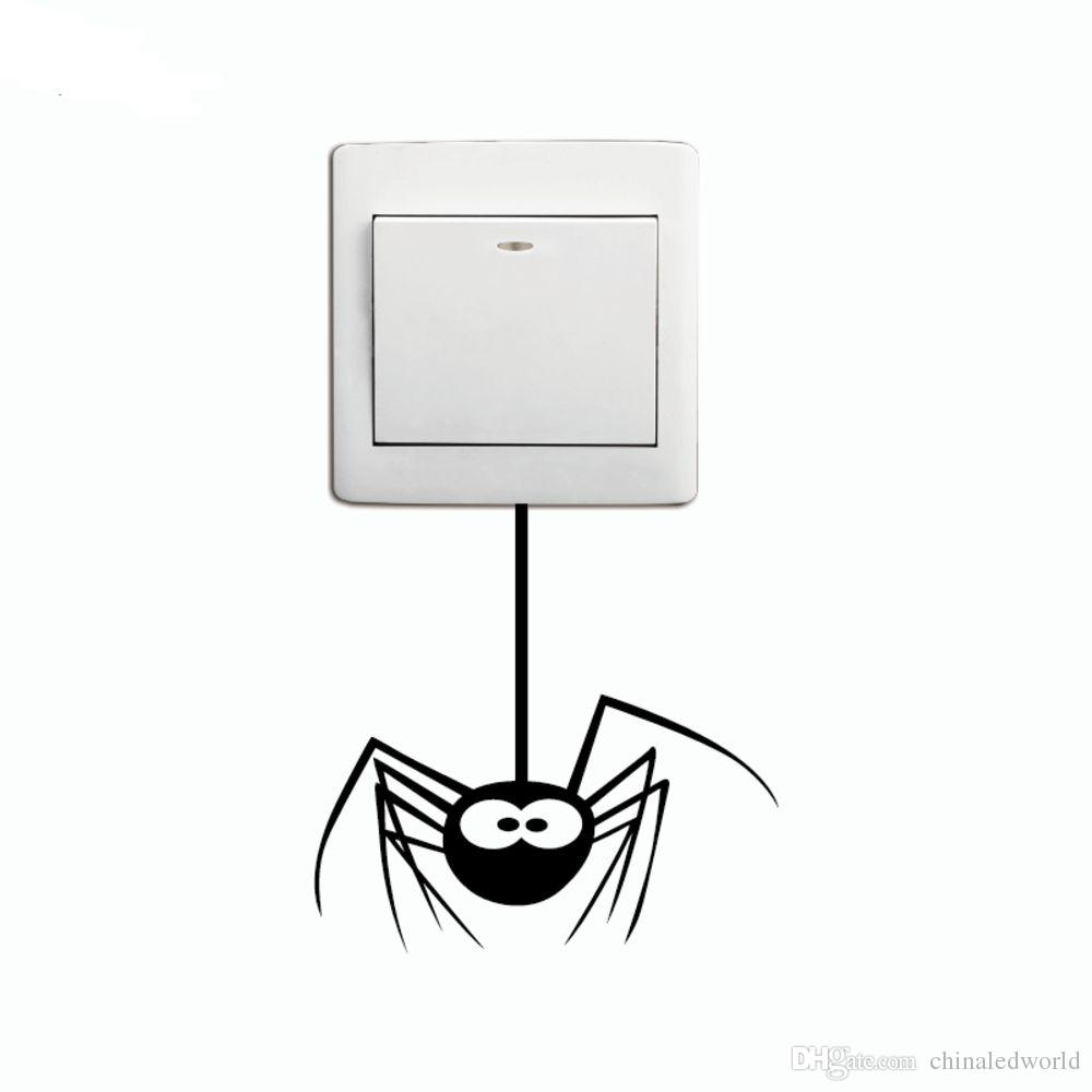 키즈 룸을위한 DSU Cartoon Spider 스위치 스티커 Funny Animal Vinyl Wall Decal