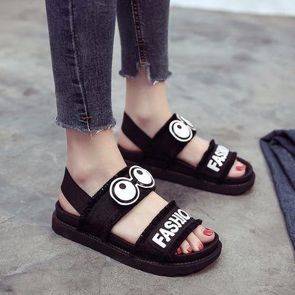 Sandalen mit dicken Sohlen Sommer 2019 Neue koreanische Version Baitao Muffin Flache Sohlen Freizeit Anti-Skid Junior High School Studenten Schuhe Femal