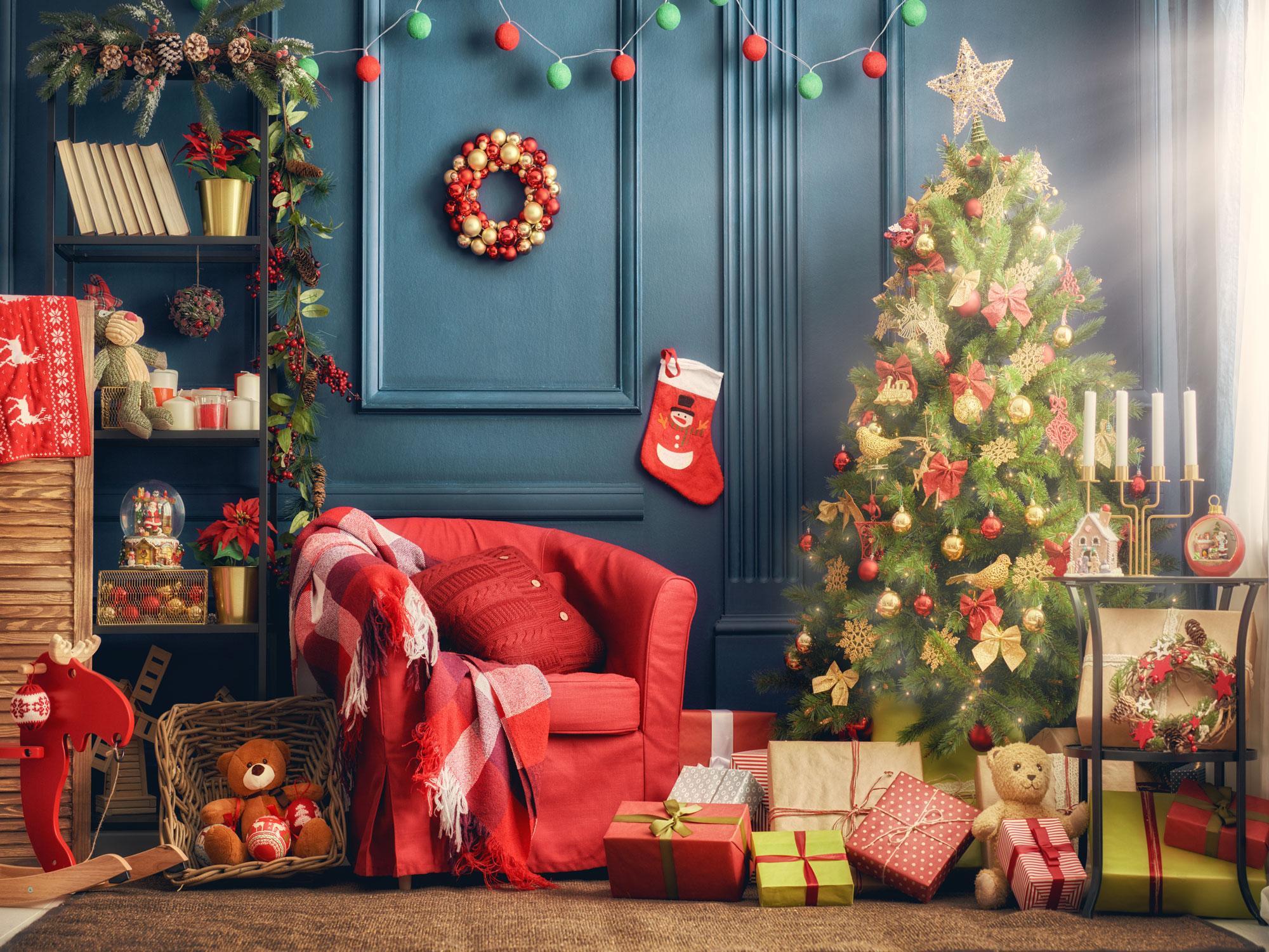 Sala de estar de Navidad decorado vinilo fondos de fotografía regalos Fondos del árbol de navidad Photo Booth para Happy Holidays Studio Atrezzo