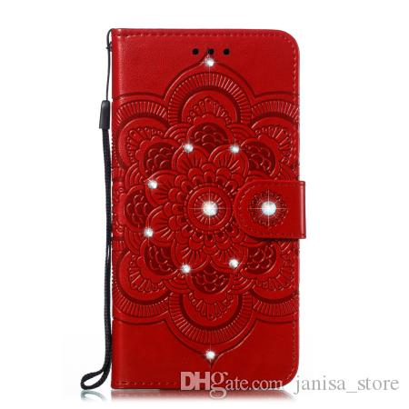 New Sun Mandala embossed point drill phone case TPU + PU anti-fall can support models for Samsung note10 pro with credit card slot pocket